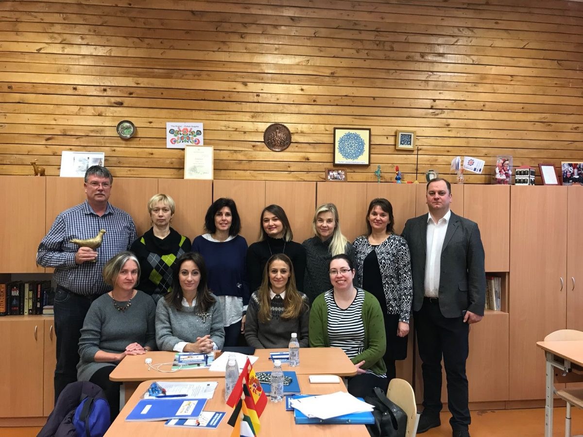 Group photo of the coordinators of our Erasmus + Project in Kauno Versvu School in Kaunas, Lithuania